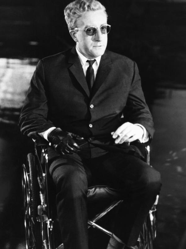 Actor Peter Sellers on the set of <em>Dr. Strangelove</em>. Freeborn's makeup turned Sellers into several characters.