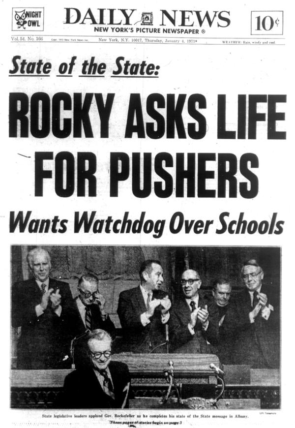 The Jan. 4, 1973, edition of the <em>New York Daily News</em> reports that Gov. Rockefeller's State of the State speech called for a life sentence for drug pushers.