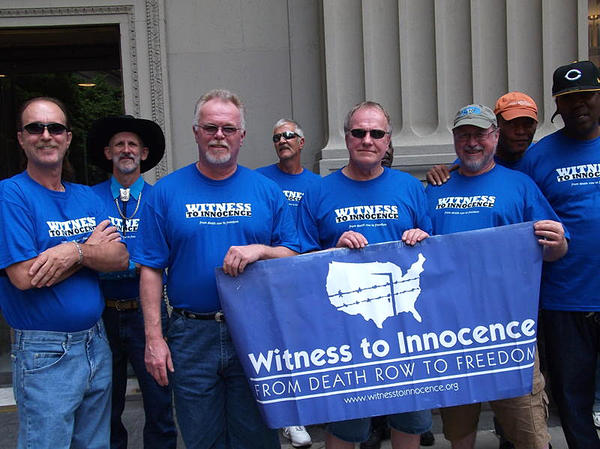 Witness to Innocence exoneree members (from left) Ray Krone, Albert Burrell, Kirk Bloodsworth, Gary Drinkard, Randy Steidl, Ronald Keine, Delbert Tibbs and Derrick Jamison