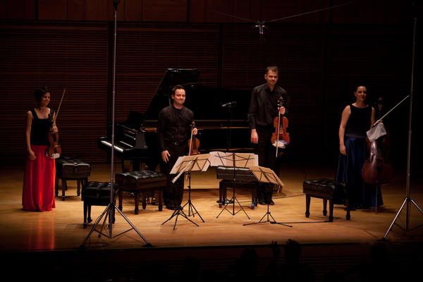 The Elias String Quartet performers — violinists Sara Bitlloch and Donald Grant, violist Martin Saving and cellist Marie Bitlloch — acknowledging the applause from the appreciative audience at Zankel Hall.