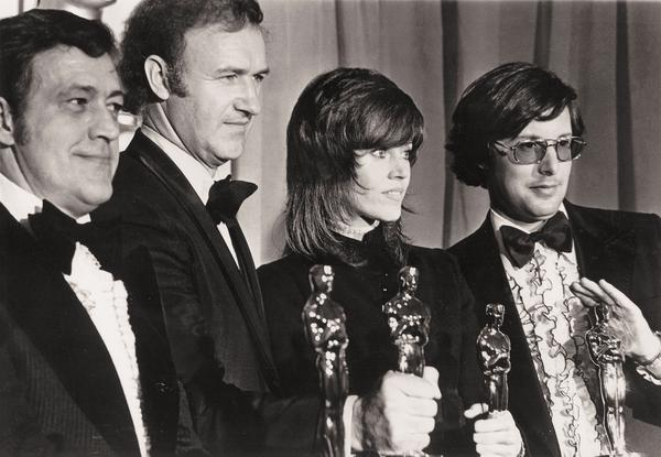 <em>The French Connection</em> won five Oscars at the 1972 Academy Awards, including best picture. From left are Phil D'Antoni, Gene Hackman, Jane Fonda and William Friedkin.