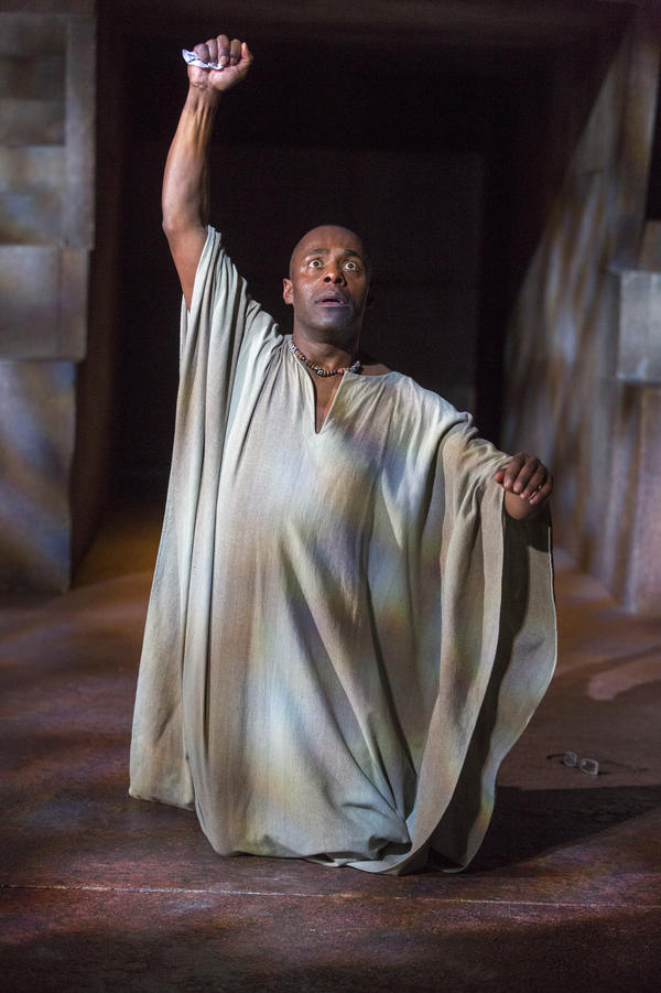 Patterson Joseph plays Brutus, the friend whose betrayal wounds Caesar most — and whose suicide caps off the play's second act.