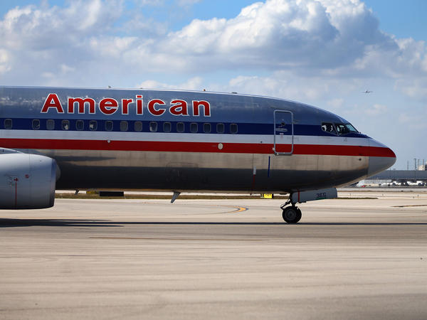 An American Airlines plane at Miami International Airport in February.