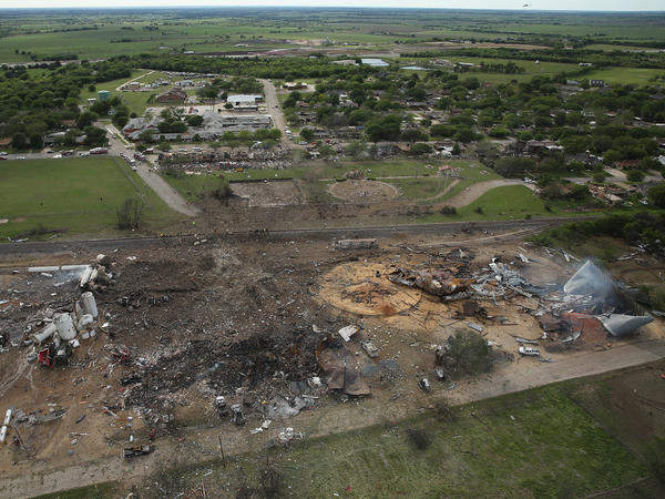 The West Fertilizer Co., shown from the air, lies in ruins after an explosion that killed 15 people, injured more than 150 and damaged houses and buildings for blocks in every direction.