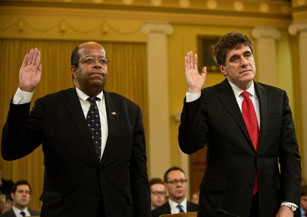 Outgoing acting Internal Revenue Service Commissioner Steve Miller (right) and Treasury Inspector General for Tax Administration J. Russell George are sworn before a full House Ways and Means Committee hearing Friday.