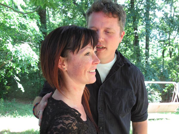 Amanda Shires and Jason Isbell outside their home in Nashville, Tenn.