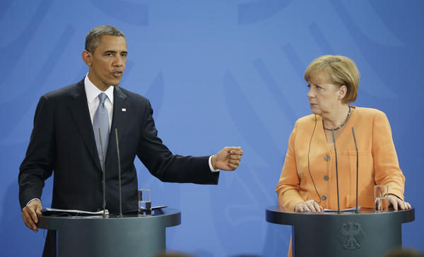 President Obama and German Chancellor Angela Merkel sparred, politely, over U.S. spying on foreign communications during their joint news conference at the Chancellery in Berlin on Wednesday. But Germany is quietly carrying out its own domestic spying.