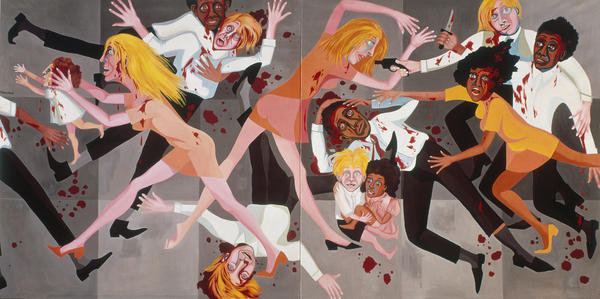 """It was what was going on in America and I wanted [viewers] to look at these paintings and see themselves,"" Ringgold says. Above, <em>American People Series #20: Die,</em> 1967, oil on canvas."