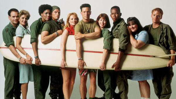 <em>China</em><em> Beach</em> did for Vietnam what <em>M.A.S.H.</em> had done for the Korean War. Left to right: Robert Picardo, Concetta Tomei, Nancy Giles, Jeff Kober, Marg Helgenberger, Brian Wimmer, Dana Delany, Michael Boatman, Ricki Lake and Ned Vaughn.