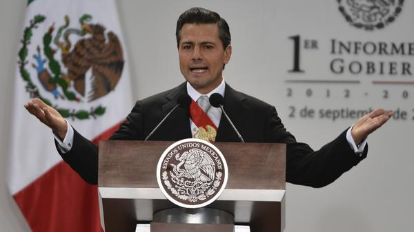 Mexican President Enrique Pena Nieto presents his first annual report to the nation during a ceremony before the Congress at his presidential residence in Mexico City on Monday.