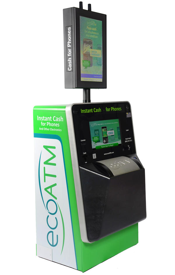 EcoATM kiosks dispense cash in exchange for used cellphones, MP3 players and tablets.