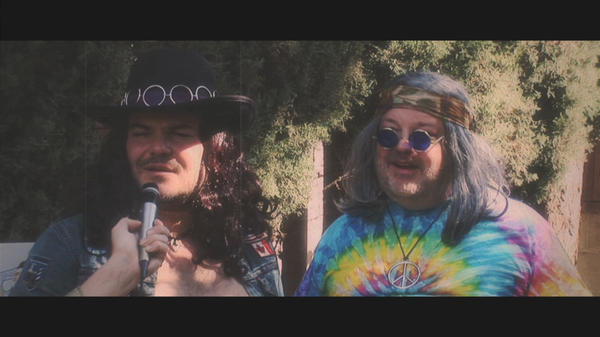 Jack Black and Kyle Gass of Tenacious D mug as 1960s hippies in a promo clip for Festival Supreme, a Los Angeles-based alternative comedy festival of their own creation.