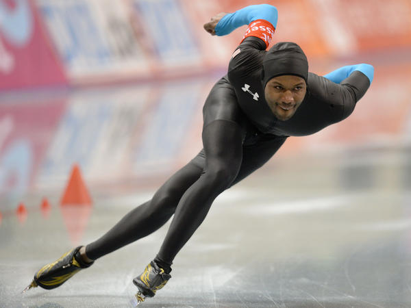 Shani Davis during the World Sprint Speed Skating Championships in January. Davis is hoping for his fourth gold medal in the 1,000 meter race.