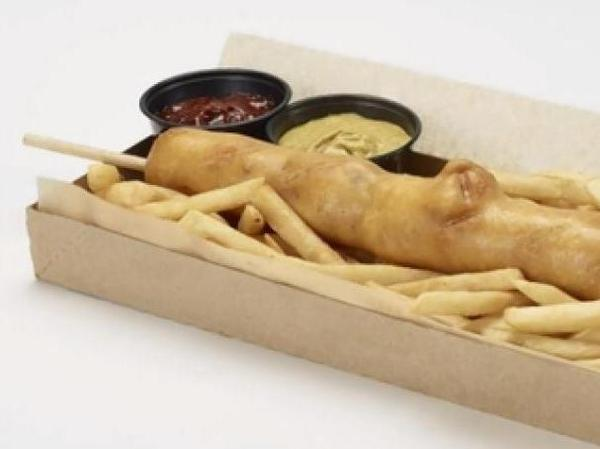The Diamondbacks' D-bat Dog is an18-inch corn dog filled with cheese, bacon and jalapeño.
