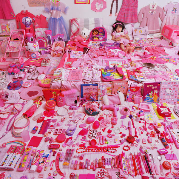Photographer JeongMee Yoon felt her daughter's life was being overtaken by pink. She illustrated that in her 2006 portrait <em>Seo Woo and Her Pink Things.</em>
