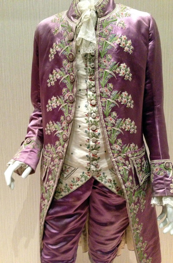 Men's suits weren't always so sober. This embroidered, pink silk coat was worn by a Frenchman in the court of Louis XVI in the 18th century.