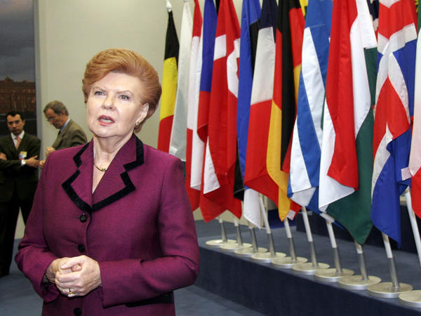 Latvia's former president, Vaira Vike-Freiberga, is shown here at a NATO summit in 2006. During her presidency, Latvia joined both NATO and the European Union in 2004.