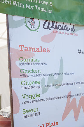 Villanueva used <em>tanda</em> cash to buy fliers and signs to help advertise Alicia's Tamales Los Mayas.