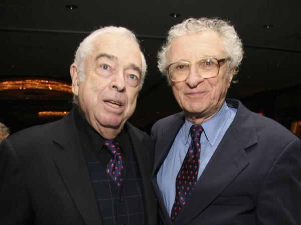 Sheldon Harnick (right) with the late Jerry Bock, his long-time musical collaborator. Together they worked on musicals like <em>Fiddler on the Roof</em> and <em>Fiorello!</em>