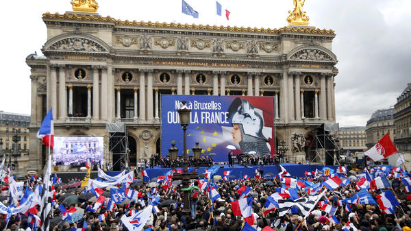 Hundreds of supporters of France's far-right National Front political party attend the party's annual May Day rally in front of the Paris Opera on Thursday.