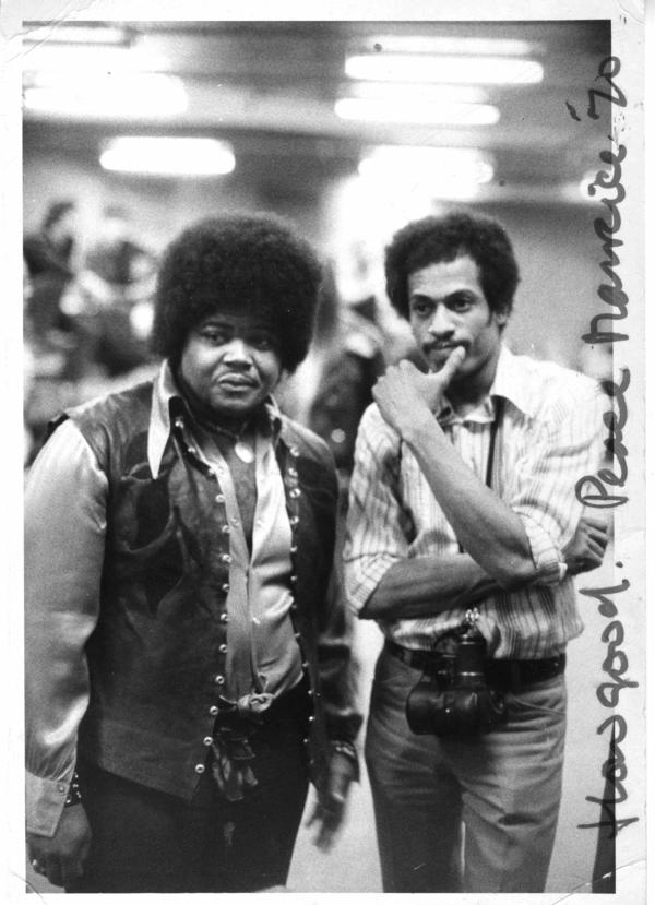Jimi Hendrix drummer Buddy Miles posts with Jim Cummins at the band's 1970 Madison Square Garden experience.