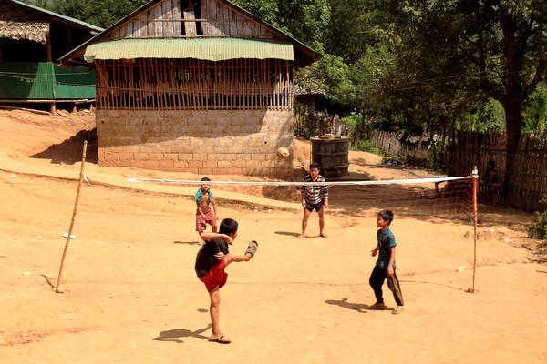 Making do in a Burmese refugee camp, Thailand.