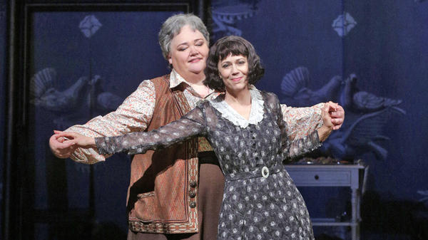 Stephanie Blythe (left) as Gertrude Stein and Elizabeth Futral as Alice B. Toklas in the Opera Theatre of Saint Louis' 2014 production of <em>27</em>.