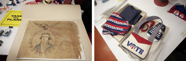 "(Left) An old banner for Thomas Jefferson's campaign in 1800 has printed on it ""T. Jefferson President of the United States of America / John Adams is no more."" (Right) For the 1972 presidential election the age to vote was lowered to 18. Clothes were used to bring in younger voters."