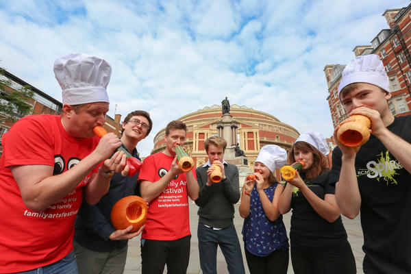 The London Vegetable Orchestra strikes up a tune at the Royal Albert Hall in London.