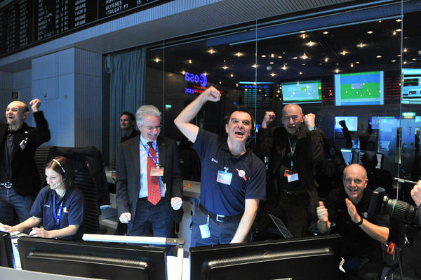 "Rosetta's mission control specialists at the European Space Operations Center in Darmstadt, Germany, were jubilant on Jan. 20, 2014, after getting back the first signals that their mission's probe had ""woken up"" on the comet's surface."