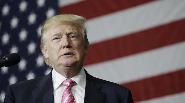 Republican presidential candidate Donald Trump speaks at a rally Saturday in Pennsylvania. That's the same day a report came out showing Trump may not have paid income taxes for most of two decades.