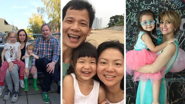 (Left) Edith Einarsson, Kristina Ingemarsdotter Persson, Samuel Einarsson and Per Einarsson. (Center) Yao Zhang, Shanshan Zhang and Rachel Meng. (Right) Lama Dossary and her daughter Leila.