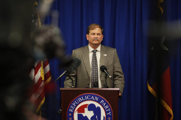 Texas GOP Chair Tom Mechler speaking to a crowd on Election Night at the party's headquarters in downtown Austin.