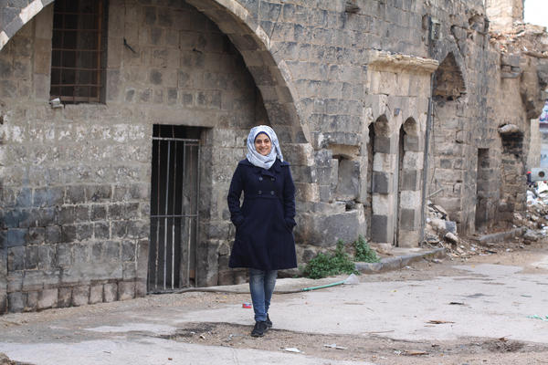 Architect Marwa al-Sabouni walks through the Old City of Homs in central Syria. It was one of the cities where the Syrian uprising began in 2011, and the opposition once controlled much of the city. But President Bashar Assad's forces have been back in control since 2014.