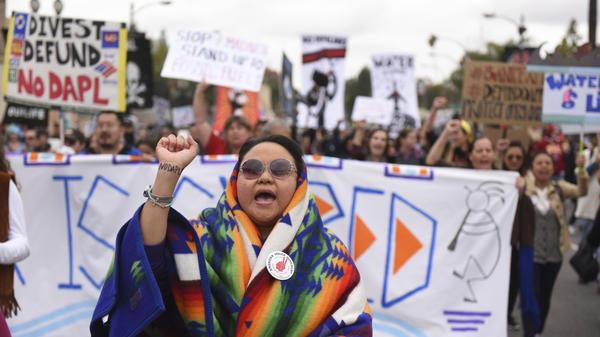 Protesters rally against the Dakota Access Pipeline behind the 128th Rose Parade in Pasadena, Calif., on Jan. 2, 2017.