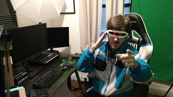 Chris Schranck, wearing his Futureman outfit, says what draws fans is his personality and the community he built around his Twitch stream.