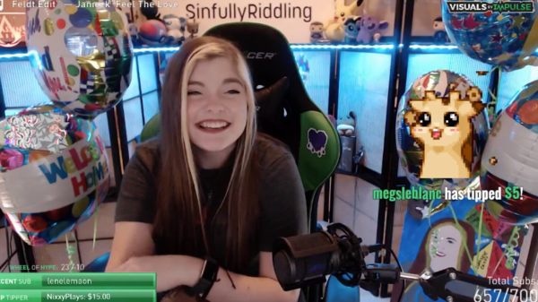 Meghan Tobin receives a donation from a viewer while streaming with Twitch IRL.