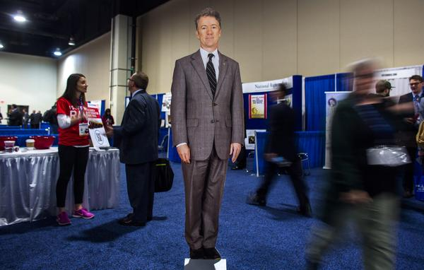 At CPAC in 2014, even Sen. Rand Paul's cardboard cutout was drawing attention. The Kentucky lawmaker won the conference's presidential straw poll that year.
