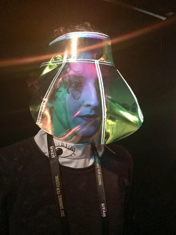 Carmen Aguilar y Wedge is the co-founder and director of creative technology for Hyphen-Labs. She modeled the company's ScatterViz visor at the Sundance Film Festival in January.