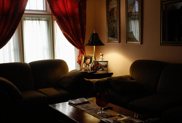 Father Miroslaw Frankowski's living area in the rectory behind St. Florian Roman Catholic Church.