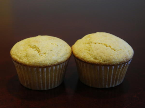 Two of Jiffy's famous corn muffins.