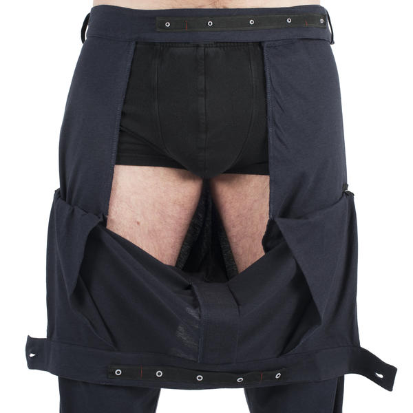INGA Wellbeing's men's jersey trousers with groin access for catheterization and drains.