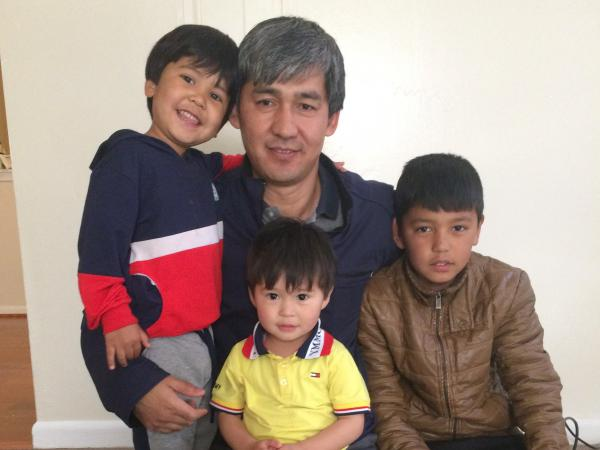 Hossein Mahrammi with his wife and four young sons arrived at at Dulles International Airport in Virginia earlier this month with Special Immigrant Visas for the work Mahrammi had helped the U.S. with in Afghanistan.