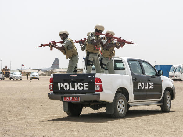 Chadian and other African police commandos during a US military-led Flintlock 2017 law enforcement simulation to capture terrorist suspects in Ndjamena, Chad.