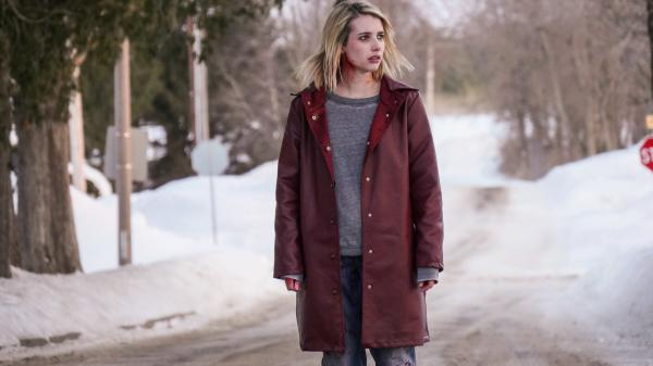 Highway to Hell (and Environs): Joan (Emma Roberts) hitches a fateful ride in <em>The Blackcoat's Daughter</em>.
