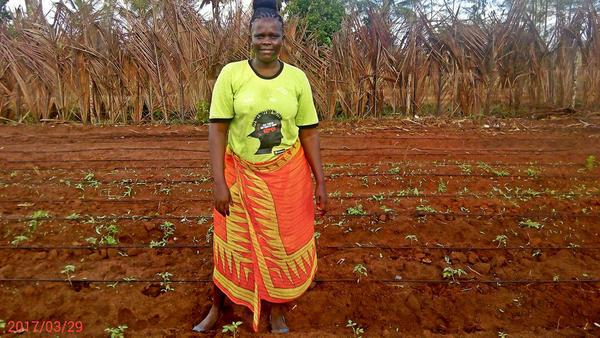 Faith has hope for her tomato seedlings.