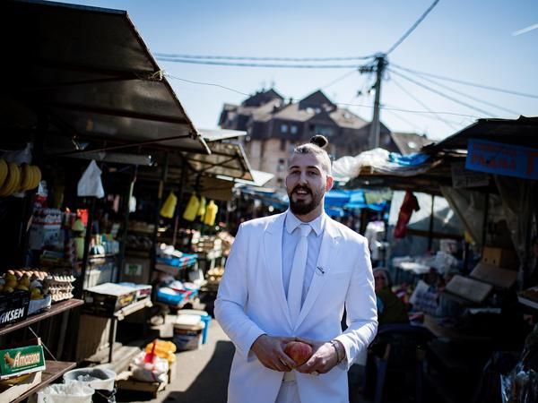 Presidential candidate Luka Maksimovic, known as Beli, a 25-year-old satirist, campaigns in the Serbian town of Mladenovac on March 21.