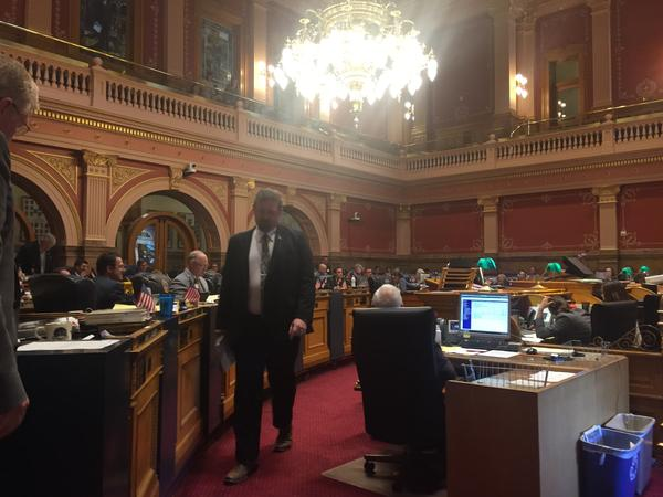 Republican Senate President Kevin Grantham leaves the podium after urging a yes vote, even though he said he didn't get everything he wanted.