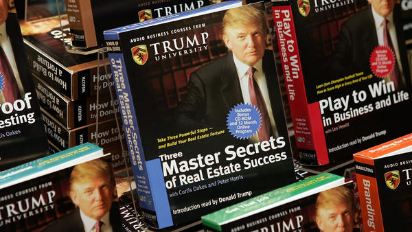 Copies of <em>How To Build Wealth,</em> a series of nine audio business courses created by Trump University, were on display at a Barnes & Noble store in New York City in 2005.