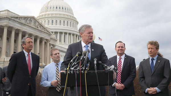 Freedom Caucus chairman Rep. Mark Meadows, R-N.C., talks about health care earlier this month and conservatives' opposition to the health care bill proposed by GOP leadership and the White House.